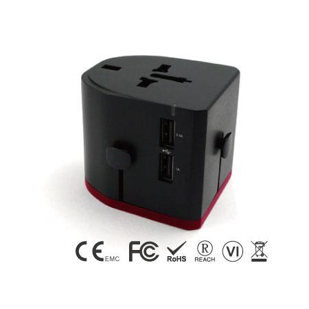 Универсальный дорожный адаптер с двухпортовым зарядным устройством USB - EEC-152UD-34-USB-порты