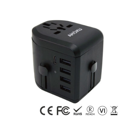 USB Type C Travel Power Plug Adapter with 5 USB Ports - Type C Universal Travel Charger-Left Side
