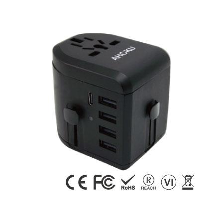 Адаптер питания USB Type C для путешествий с 5 портами USB - Универсальное дорожное зарядное устройство типа C - левая сторона