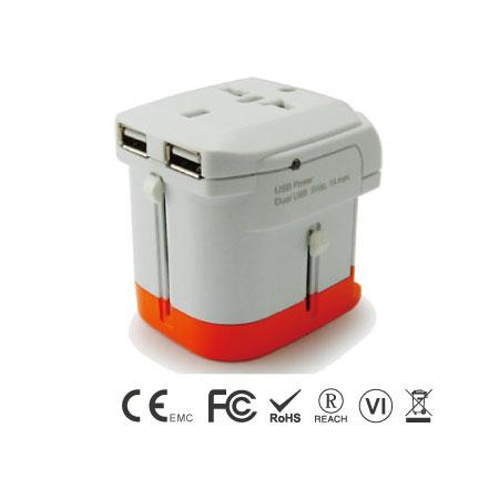 듀얼 USB 충전기가 내장된 범용 여행용 어댑터
