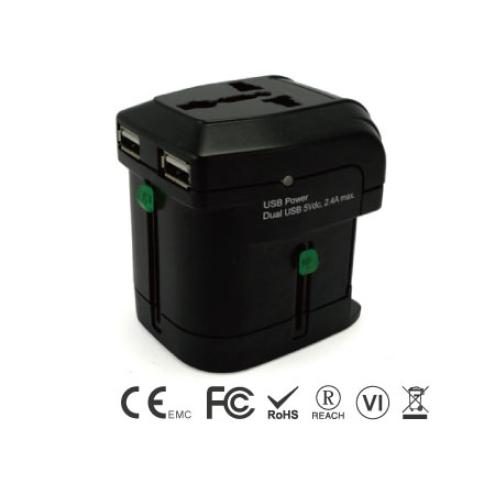 Universal Travel Adapter with Two Ports USB Charger