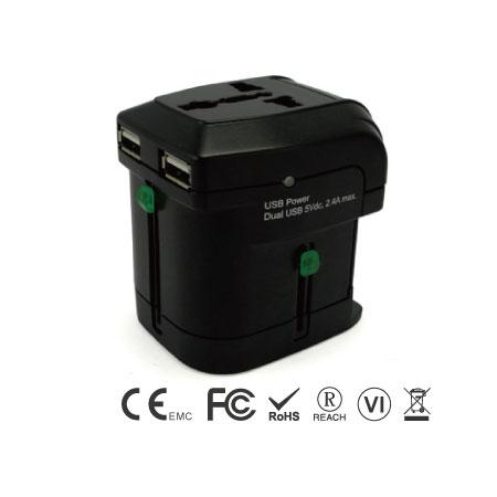 2ポートUSB充電器付きユニバーサルトラベルアダプター