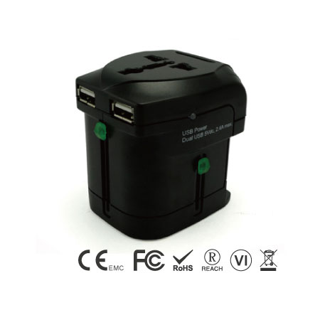 Universal Travel Adapter With 2.4A Dual USB Charger - UK. EU. AU. US Plug