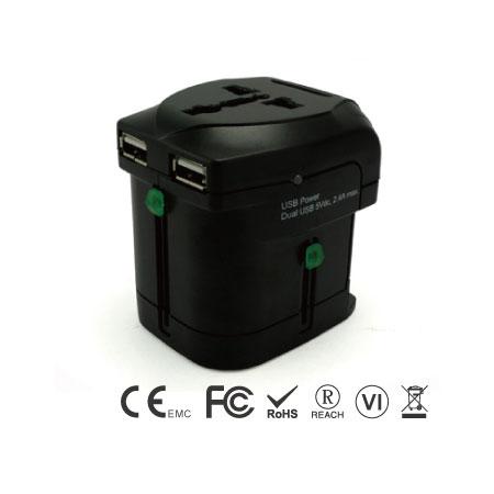 Adaptador de viaje universal con cargador USB dual de 2,4 A - Reino Unido. UE. AU. Enchufe de EE. UU.