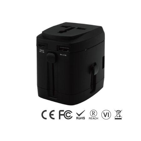 4-портовый универсальный USB-адаптер для путешествий с зарядным устройством типа C - Универсальное дорожное зарядное устройство Type C - черное