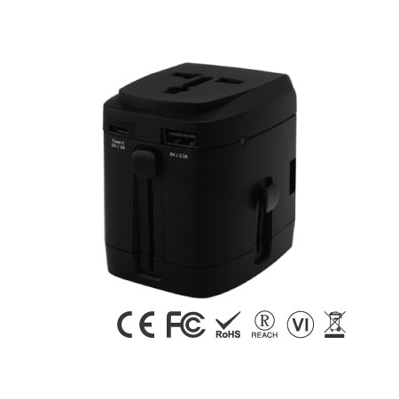 4 Ports USB Universal Travel Adapter with Type C Charger - Type C Universal Travel Charger-Black