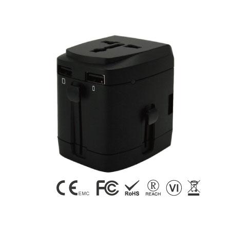 Universal International Travel Adapter Kit with 3.4A 4 USB Ports - Universal Travel Adapter Left Side