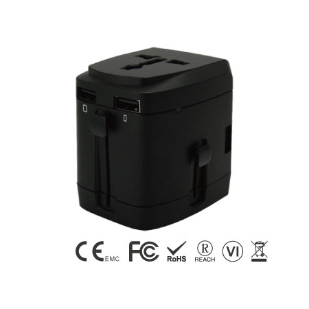 Universal International Travel Adapter Kit with 3.4A 4 USB Ports - Universal Travel Adapter Left Side