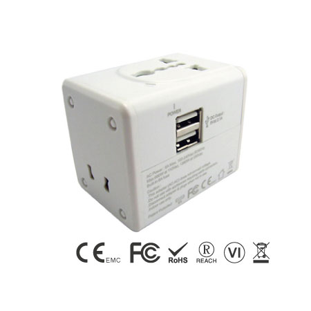 Universal Travel Adapter Built-in 2.4A Dual USB Charger - Universal Travel Adapter front Side & Dual USB ports