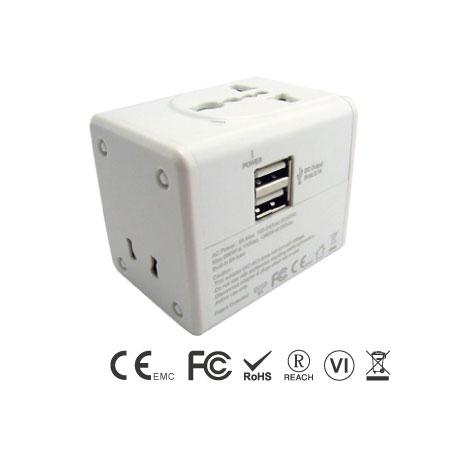 Универсальный дорожный адаптер, встроенное зарядное устройство с двумя USB-портами 2,4 А - Универсальный дорожный адаптер на передней панели и два порта USB
