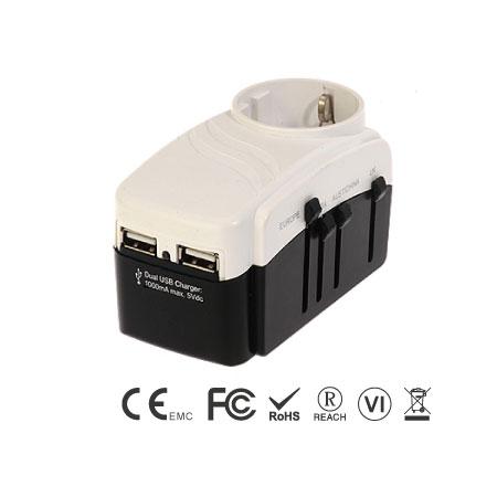 Всемирный универсальный заземленный евроадаптер с зарядным устройством USB на 1 А и защитой от перенапряжения