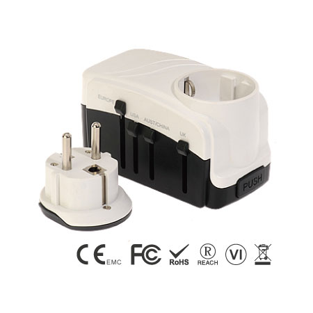 Grounded Universal Travel Adapter with Dual Ports USB Charger and Schuko Grounded Plug Set - Grounded Universal Travel Adapter Front Side
