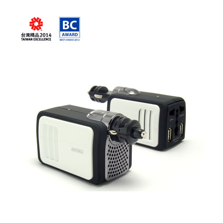 100W 12V Car Power Inverter with 2.1A Dual USB Charging ports
