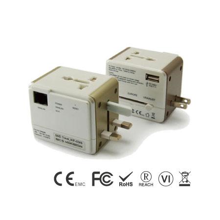 범용 AC 어댑터 및 2.1A USB 충전기가 포함된 스마트 여행용 라우터 - 범용 여행용 WiFi 라우터 전면