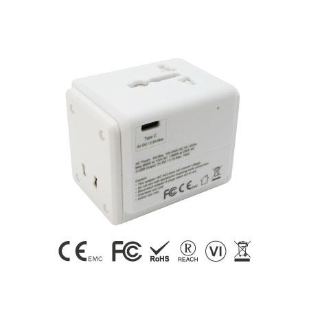 International Dual Ports USB and USB-C Travel Adapter - Universal Travel Adapter Type C Port
