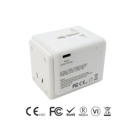 International Dual Ports USB and USB-C Travel Adapter