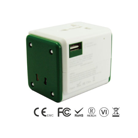 Universal Travel Adapter with 3.1A 3 USB ports - Universal Travel Adapter front Side