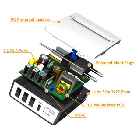 특허받은 멀티 플러그가 있는 Type C 4-USB 여행용 충전기