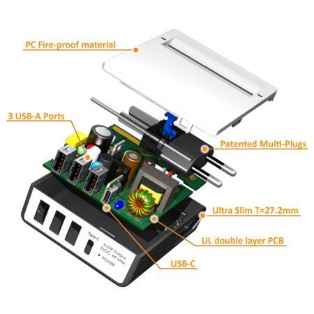 タイプC4-特許取得済みのマルチプラグを備えたUSBトラベルチャージャー