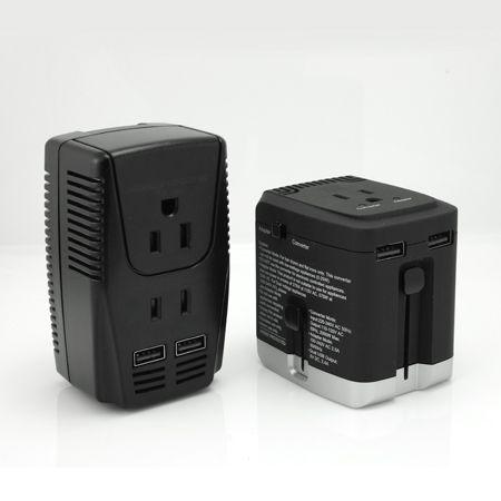Convertitore di tensione da viaggio e USB - Convertitore di tensione di viaggio