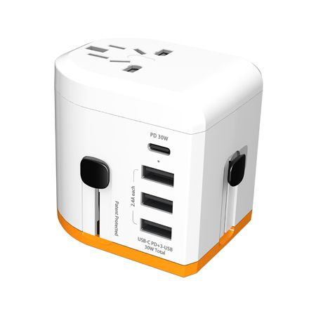 All in one universal travel adapter with USB-C PD quick charge