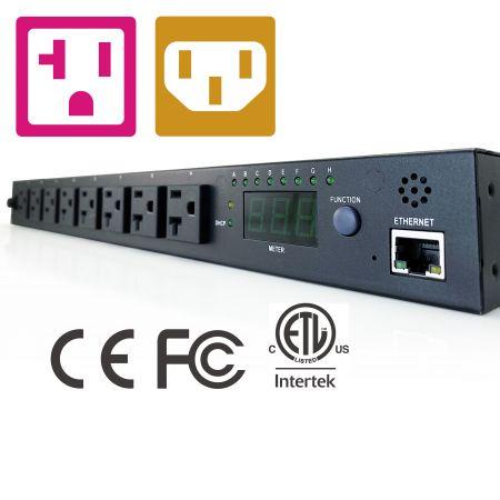 NEMA / IEC 8 розеток 1U 19-дюймовый IP-блок распределения питания - PDU на базе IP NEMA / IEC