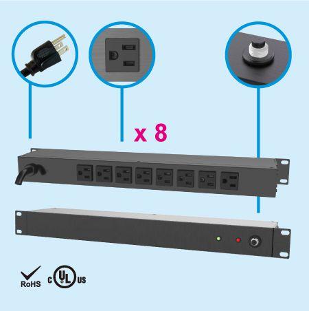 """(8) NEMA 5-15 1U 19"""" Rack Mount Power Strip - Rear side, 8 x 5-15R outlets"""