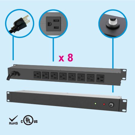 "(8) NEMA 5-15 1U 19"" Rack Mount Power Strip"