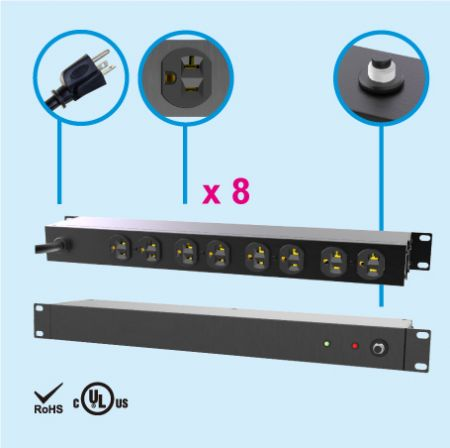 "(8) NEMA 5-20 1U 19"" Rack Mount Power Strip"