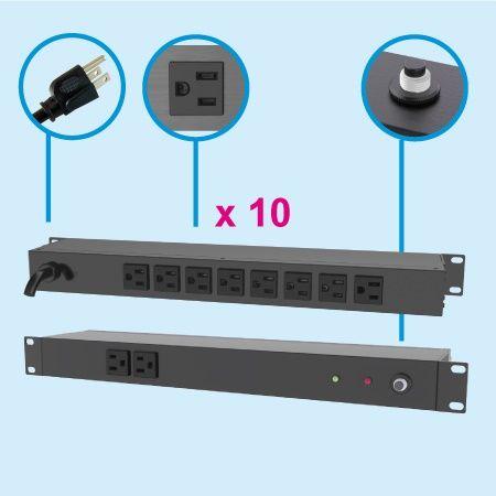 """(10) NEMA 5-15 1U 19"""" Cabinet Power Strip - Rear side, 8 x 5-15R outlets"""