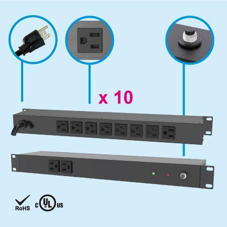 """10 NEMA 5-15 1U 19"""" Cabinet Power Strip - Rear side, 8 x 5-15R outlets"""