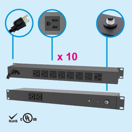 """10 NEMA 5-15 1U 19"""" Schrank-Steckdosenleiste - Rückseite, 8 x 5-15R Ausgänge"""