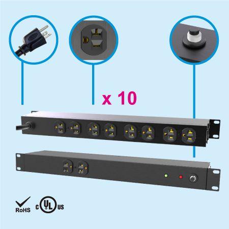 """10 NEMA 5-20 1U 19"""" Cabinet Power Strip"""
