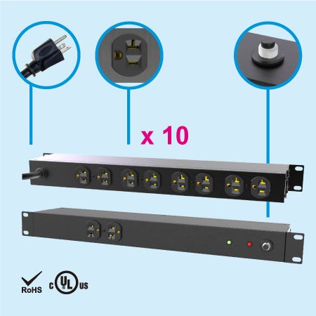 "(10) NEMA 5-20 1U 19"" Cabinet Power Strip"