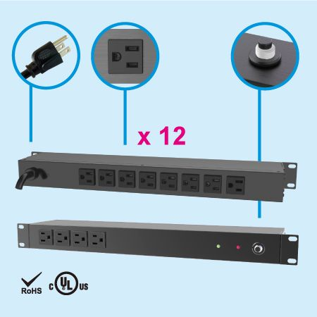 (12) NEMA 5-15 1U Rack Mount PDU - Rear side, 8 x 5-15R outlets