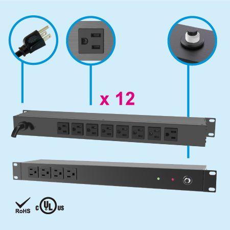 12 NEMA 5-15 PDU para rack de 1U - Lado trasero, 8 salidas 5-15R