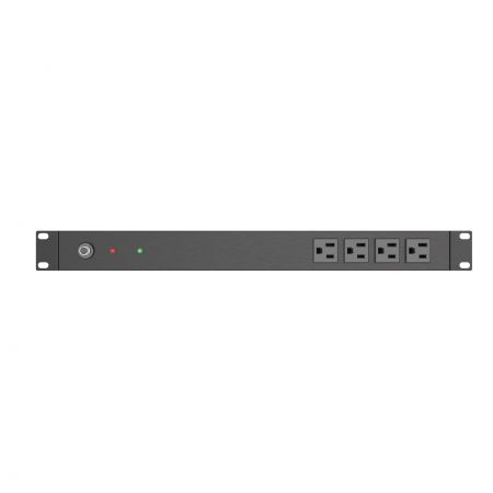 Front side, 4 x 5-15R outlets PDU for Rack, CB and LED
