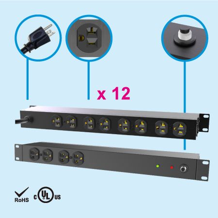 "12 NEMA 5-20 1U 19"" Metal Power Strip - 20A PDU"