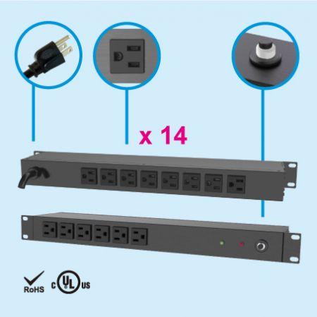 14 Administrador de energía para rack de 1U NEMA 5-15 - Lado trasero, 8 salidas 5-15R