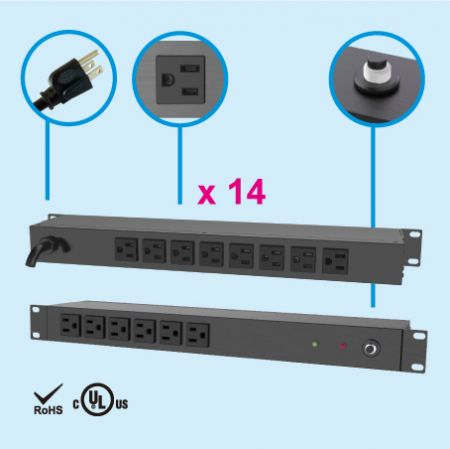 (14) NEMA 5-15 1U Rack Power Manager - Rear side, 8 x 5-15R outlets