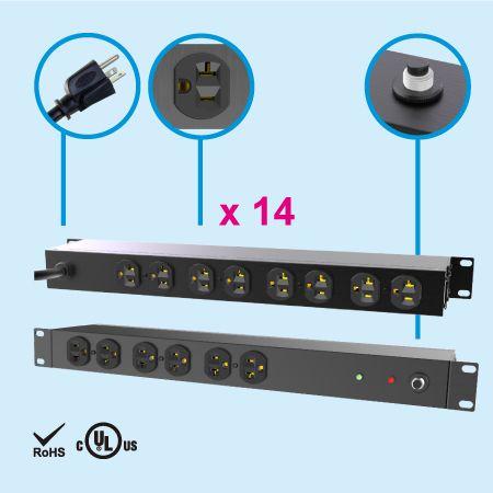 """14 NEMA 5-20 1U 19 """"メタル電源タップ - 20A PDU"""