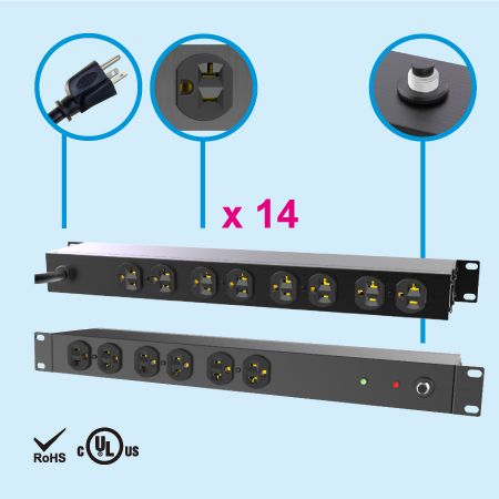 "14 NEMA 5-20 1U 19"" Metal Power Strip"