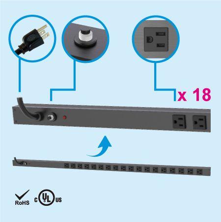 18 NEMA 5-15 0U Dải điện tủ tiết kiệm không gian thẳng đứng