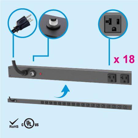 18 NEMA 5-20 0U Vertical Rack Mount Power Strip - 18 x 5-20R outlets PDU and 5-20P