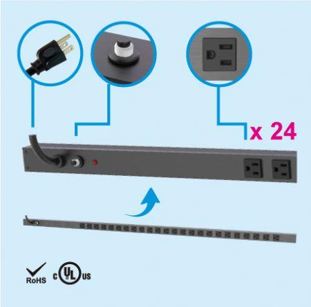 24 NEMA 5-150U垂直省スペースキャビネット電源タップ - 24 x5-15RアウトレットPDU
