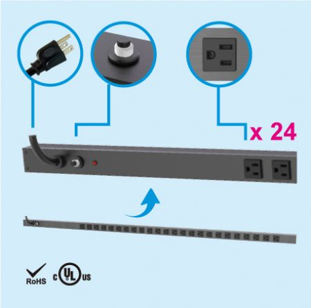 24 NEMA 5-15 0U Dải điện tủ tiết kiệm không gian thẳng đứng