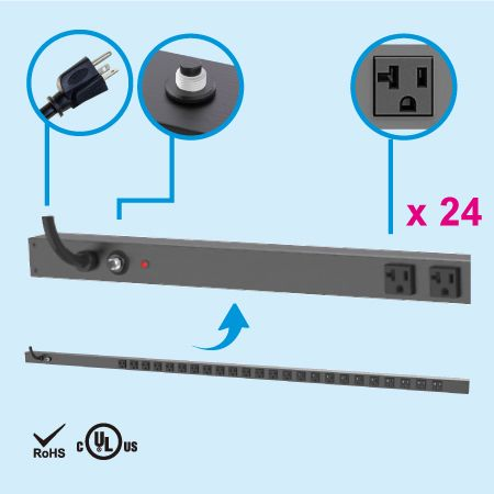 24 NEMA 5-20 0U Vertical Rack Mount Power Strip