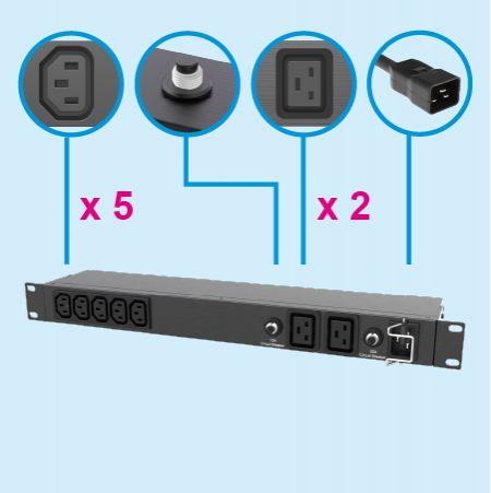 7 Steckdosen C13 C19 IEC 60320 Rack PDU Steckdosenleiste 20A 230V - Für Servierausrüstung