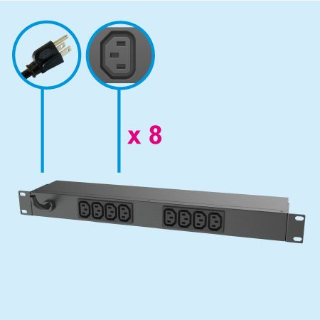 8 Outlets C13  IEC320 Metal PDU 1U Rock-Mount 10A - IEC PDU