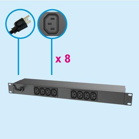 8 Outlets C13  IEC 60320 Rack Metal PDU 1U 10A - Data Center Equipment